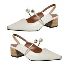 Trendy Women Closed Toe Block Mid Heel Slingbacks Ankle Strap OL Dress Sandals L