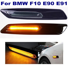 2x For BMW E90 E91 F10 Turn signal light Amber Black Carbon Trim LED Side Marker