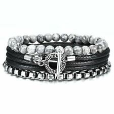 Wrap Mixed Layered Bracelet Men Jasper Beads Stainless Steel Leather Bracelet