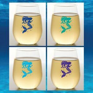 Set of 4 16 oz Shatterproof Plastic Stemless Wine Glasses MERMAIDS