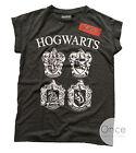 Primark Official HARRY POTTER HOGWARTS 4 Houses Multi Crest Logo T Shirt