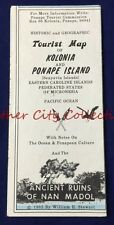 1982 Vintage Historic Geographic Dive Map Kolonia & Ponape Islands Micronesia