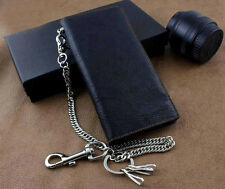 Men's Motercycle Punk Long Leather Wallet With a Heavy skull Jeans Key chain