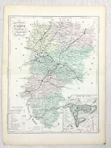 1881 Antique French Map Laon Aisne France Old Hand Coloured Engraving