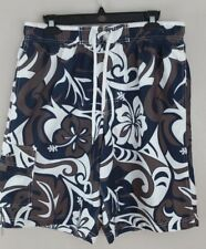 Speedo Mens Tropical Lined Blue/Brown/White Board Shorts Swim Trunks size M