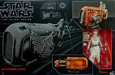 "STAR WARS THE BLACK SERIES REY & REY`s SPEEDER (JAKKU) 6"" INCH FIGURE HASBRO"