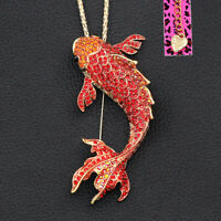 Betsey Johnson Crystal Rhinestone Big Goldfish Pendant Chain Necklace/Brooch Pin
