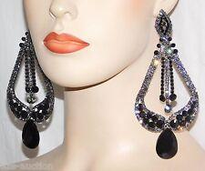 BLACK ONYX AND BLACK DIAMOND RHINESTONE CRYSTAL LONG CHANDELIER EARRINGS