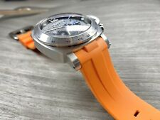 ORANGE Panerai 44mm Luminor Case 24mm Curved Vulcanized Rubber Watch Strap