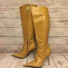 Les Baisers Des Etoiles Yellow Crocodile Embossed Leather Stiletto Boots Sz 39