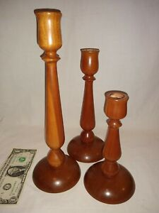 Antique Handmade Wooden Cedar Candlestick Candle Holders Vintage