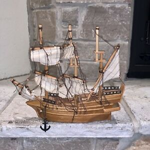 "Antique Solid Wood 12"" Handmade Model Clipper Ship Boat Vintage MCM Sails Pirate"