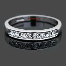 Women's 18k White Gold Plated Wedding Band Eternity Ring Size 5 R92