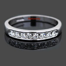 Women's 18k White Gold Plated Wedding Band Eternity Ring Size 10 R92