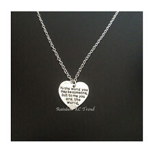 Mothers Day Girlfriends Birthday Special Gift You Are The World Heart Necklace