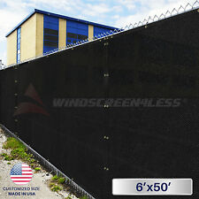 6'x50' Feet Black Privacy Fence Windscreen Yard Garden Shade Mesh Fabric Cover