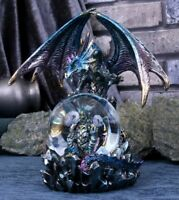 Blue Mother and Baby Dragon Figurine Snowglobe Statue Ornament Sculpture 18cm