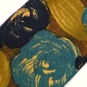 Vintage Gold Blue Floral Silk Tie
