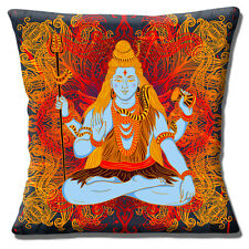 "RETRO INDIAN GOD SHIVA ON ORNATE MULTI COLOUR DESIGN 16"" Pillow Cushion Cover"