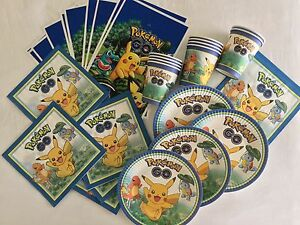 POKEMON PARTY PACK PLATES CUPS NAPKINS LOOT BAGS 10 GUESTS (50 PIECES) BIRTHDAY