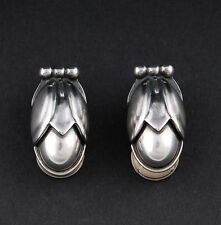 GEORG JENSEN Sterling Silver Ear Clips Of The Year 2011 w Silverball. NEW IN BOX