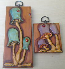 Mushrooms & Ladybugs Home Decor Wall Hanging 2 Vintage Signed Originals