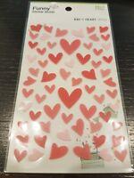 FELT Hearts Romantic Sticker Sheet Raised 60 + Individual Stickers Craft Heart