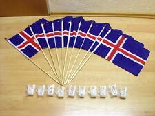 Fahnen Flagge 10 x Island Mit Halter für Autoscheibe Stockflagge 30 x 40 cm-