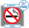 8 x No Smoking Stickers 55mm waterproof vinyl signs window car taxi van shop