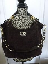 Coach Madison Embossed Suede Leather Shoulder Bag/Hobo - Brown - 15920