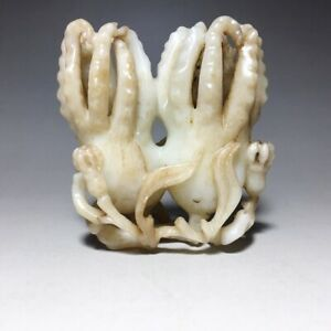 CHINESE ANTIQUE HETIAN JADE CARVING OF FINGERED CITRON