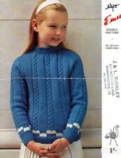 Vintage EMU 6225 Knitting Pattern, Girl's sweater, 26 - 32 In (environ 81.28 cm)