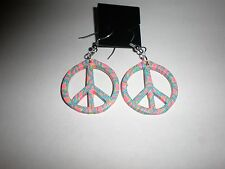Psychadelic fimo clay peace sign earrings-wires