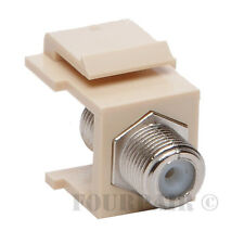 100 - Pack Lot F-81 Coax Keystone Jack Snap-In Cable TV Coupler Connector Ivory