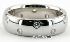 14K WHITE GOLD MENS WEDDING BANDS RING WITH CZ 6MM