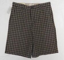 Van Heusen Men's Shorts Size 32 Plaid Flat Front 100% Cotton Casual Dress New