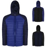 New Mens Classic TwoTone Quilted Hooded Jacket S-XL