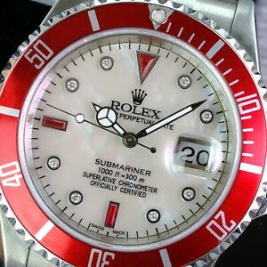 Rolex Submariner 16610T Date Stainless Steel 40mm-White MOP Ruby Dial Red Insert