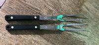 Vintage Ekco Flint Stainless Serving Forks set of 2 Black Handle