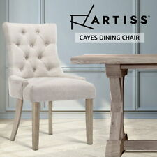 Artiss Dining Chairs French Provincial Wooden Fabric Retro Cafe Chairs Beige x1
