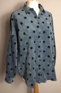 ZARA Size M Blue Polka Dot Shirt Button Up Fine Corduroy Autumn Winter Ladies