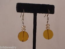 Amber Colored Glass Dangle Earrings Casual Champagne Crystal Bead &