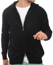 Balldiri 100% Cashmere Kaschmir Herren Pullover Hoody Sweater Kapuze schwarz XL