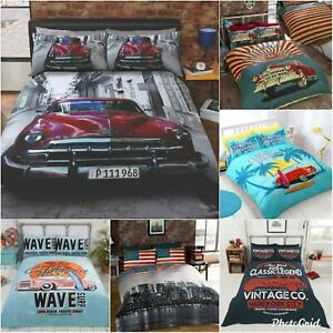 Retro Garage American Duvet Cover Set USA Flag Classic Car Route 66 Bedding Set