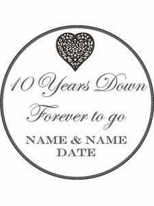 10th Tenth Wedding Anniversary Personalised Edible Cake Topper icing or wafer