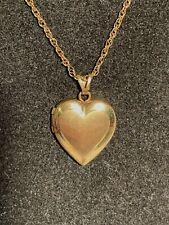 "Vintage 14k Gold Filled Hinged Heart Locket Pendant &  18"" chain signed Marathon"