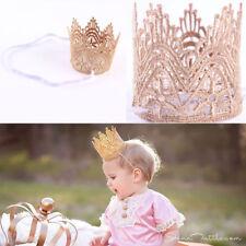 HOT ! Baby Big Crown Headband Princess Crown Hair band Pearl Tiara Lace Headwear