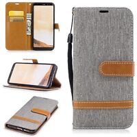 Case For Samsung Galaxy S8 Jeans Cover Phone Protective Cover Wallet Grey New