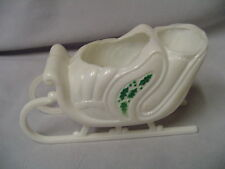 """Christmas Plastic Sleigh With Holly 2.5"""" Tall 4.25"""" Long Retro"""