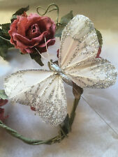 Art//Craft Decoration Set of 2 Feather Butterflies Ivory Swallowtail- 5.5cm